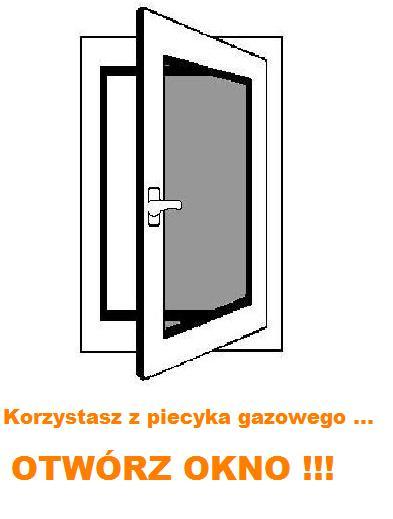 KORZYSTASZ Z PIECYKA GAZOWEGO, NA NA CZAS PRACY PALNIKA OTWÓRZ OKNO !!!